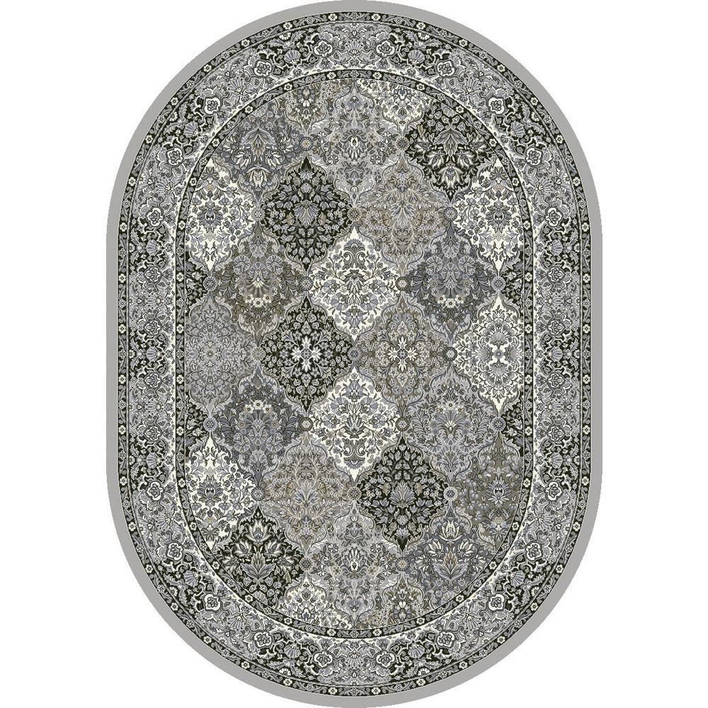 Ancient Garden Cream/Grey Panel 7 ft. x 10 ft. Oval Indoor Area Rug