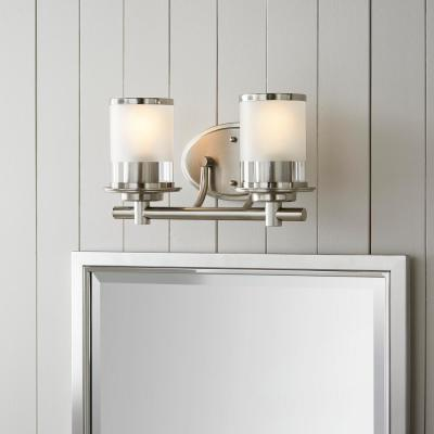 Truitt 2-Light Brushed Nickel Vanity Light with Clear and Sand Glass Shades