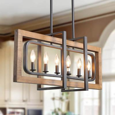 6-Light Black Geometric Wood Candle Chandelier