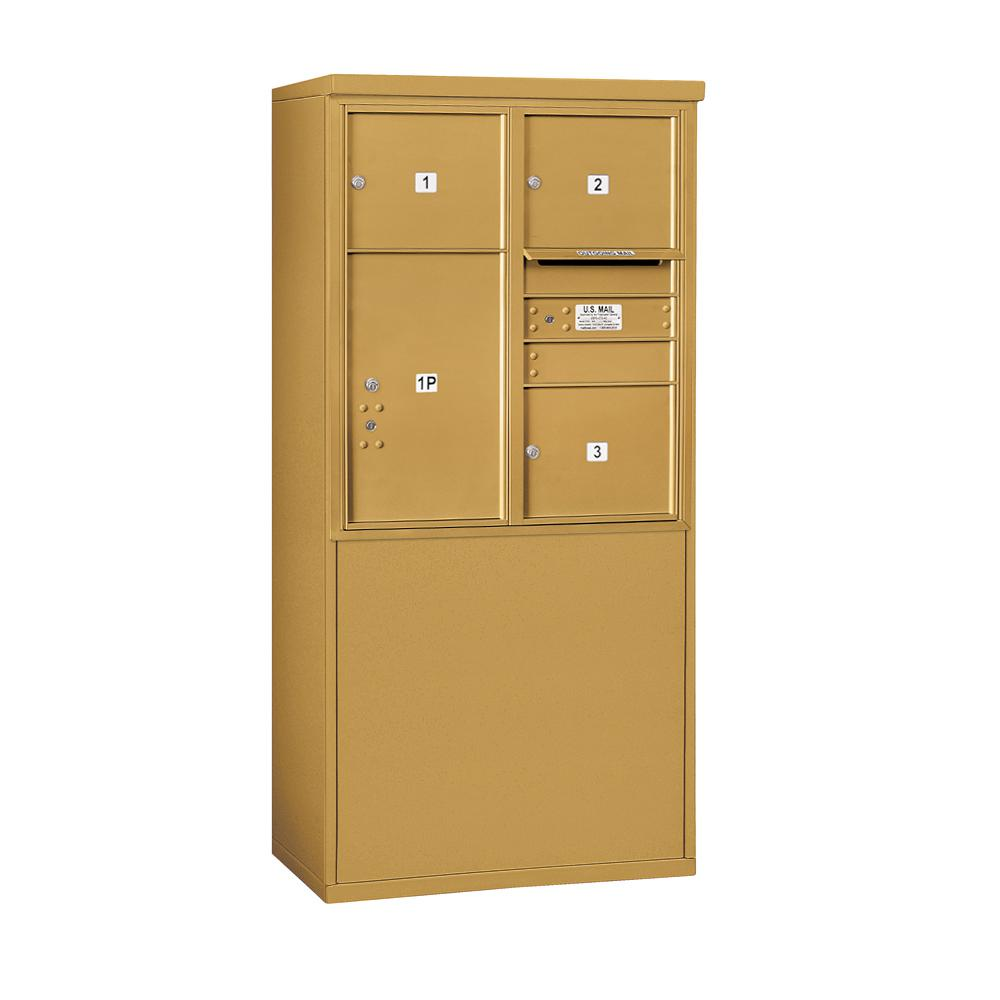 Salsbury Industries 3900 Horizontal Series 3-Compartment 1-Parcel Locker Free Standing Mailbox