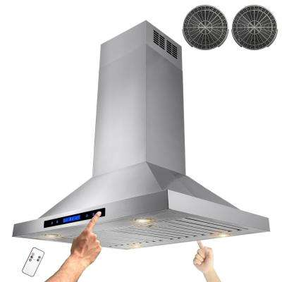 30 in. Convertible Kitchen Island Mount Range Hood in Stainless Steel with Remote, Dual Touch Control and Carbon Filter