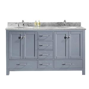 Virtu USA Caroline Avenue 60 inch W x 22 inch D Double Vanity in Gray with Marble Vanity Top in White with White Basin by Virtu USA
