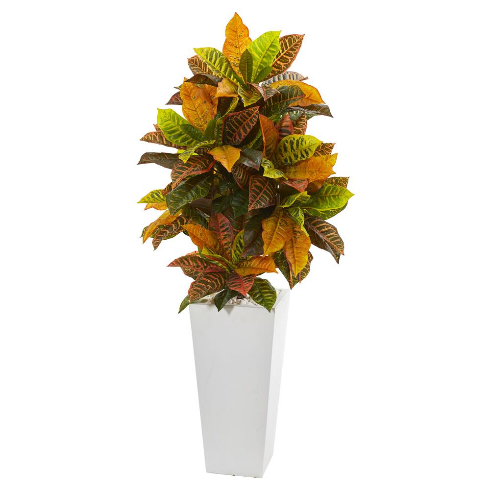 Nearly Natural 51 in. Croton Artificial Plant in White Tower Planter (Real Touch)