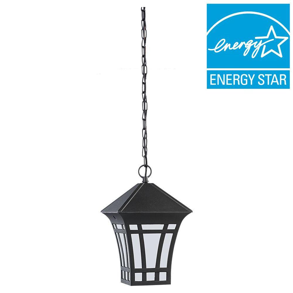 sea gull lighting herrington 1 light outdoor black ceiling mount hanging pendant fixture. Black Bedroom Furniture Sets. Home Design Ideas