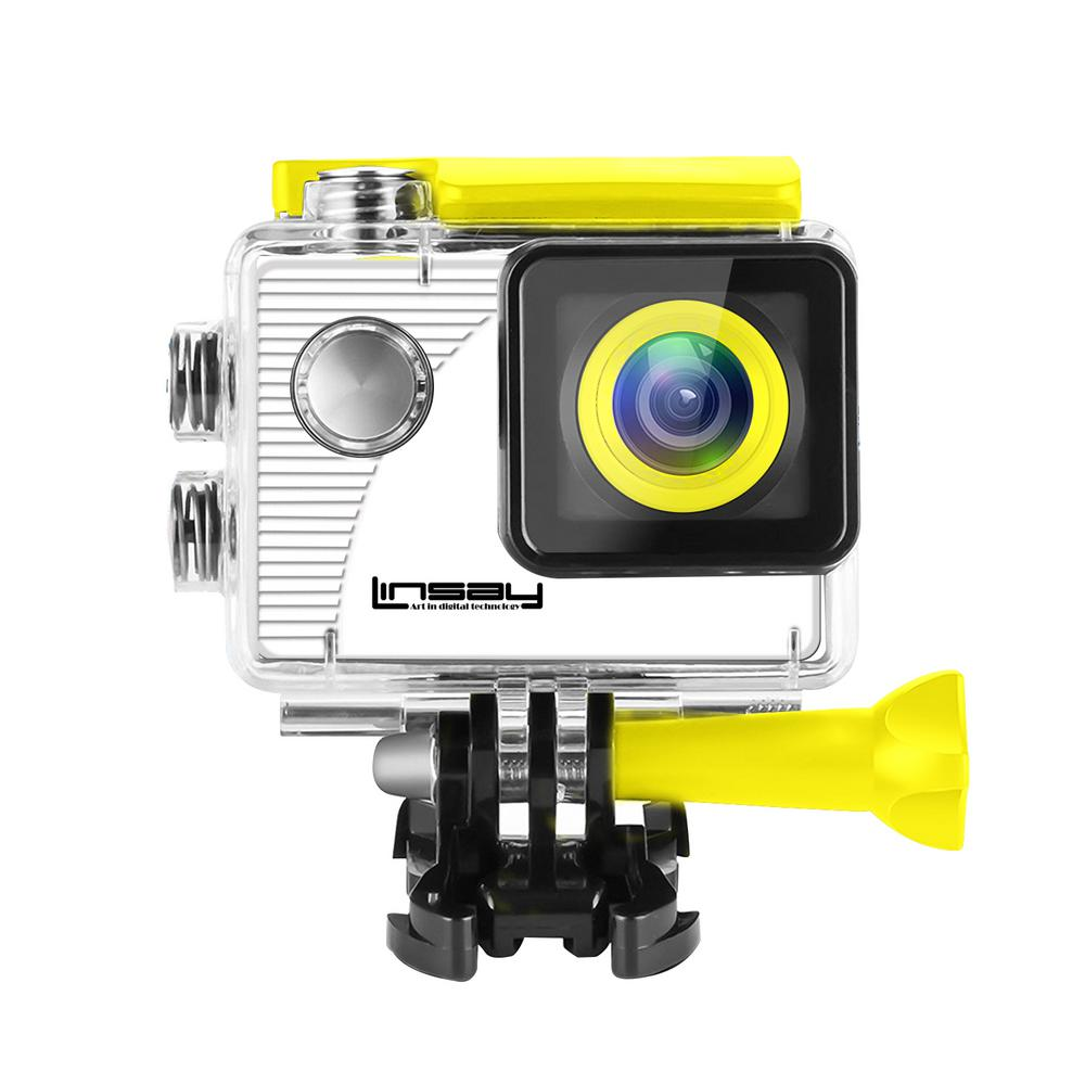 LINSAY Funny Kids Yellow Action Camera Sport Outdoor Activities HD Video and Photos Micro SD Card Slot up to 32GB