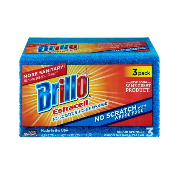 Estracell No Scratch Wedge Edge Scrub Sponge (3-Count, Case of 8)