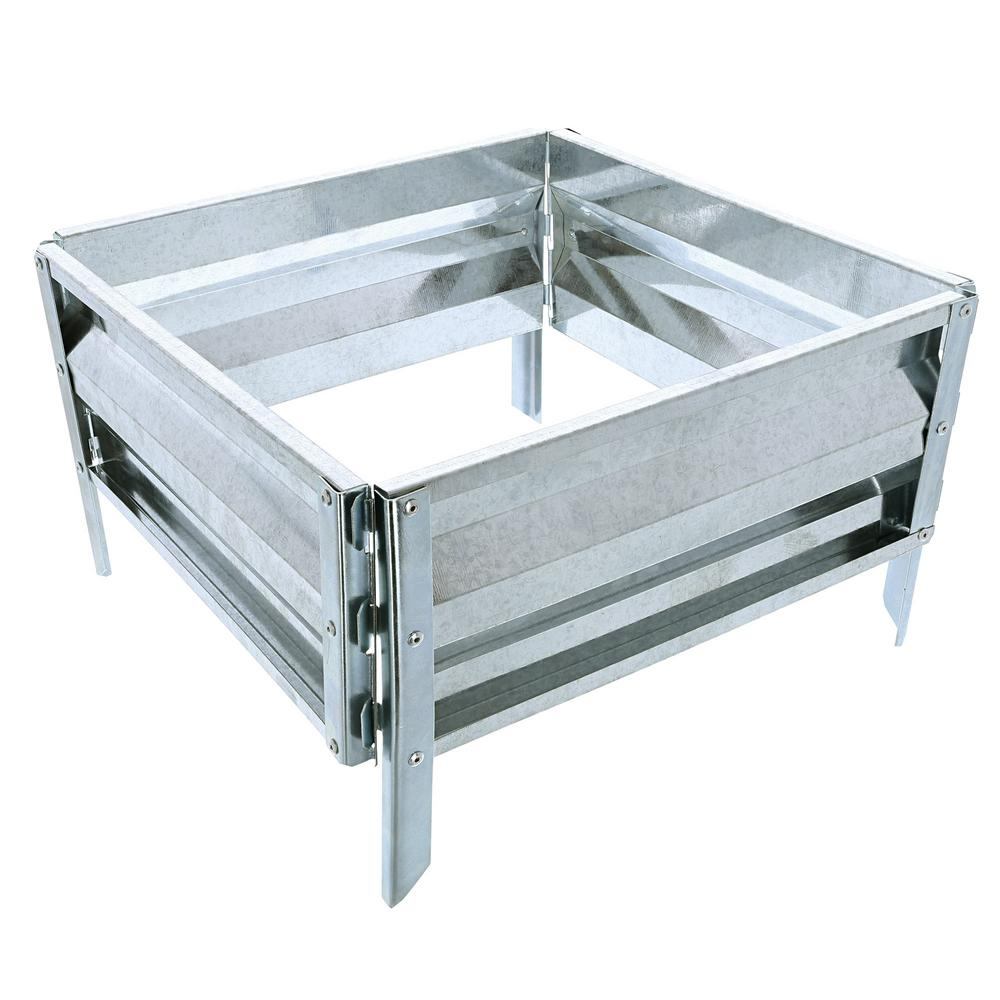 Pure Garden 13.5 in. x 14.25 in. Silver Raised Garden Bed The sturdy Iron Raised Garden Bed Plant Holder by Pure Garden is the ideal way to start an at home garden. It's designed to blend into any landscape. This versatile planter helps to eliminate unnecessary labor, maintenance and weeding by protecting flowers, plants, vegetables and other garden varieties. Color: Silver.