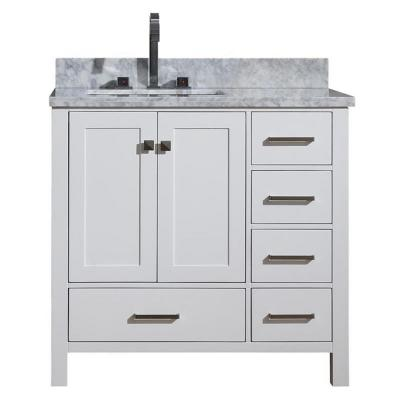 Cambridge 37 in. Bath Vanity in White with Marble Vanity Top in White with White Basin