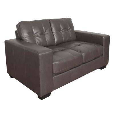 Club Tufted Brownish-Grey Bonded Leather Loveseat