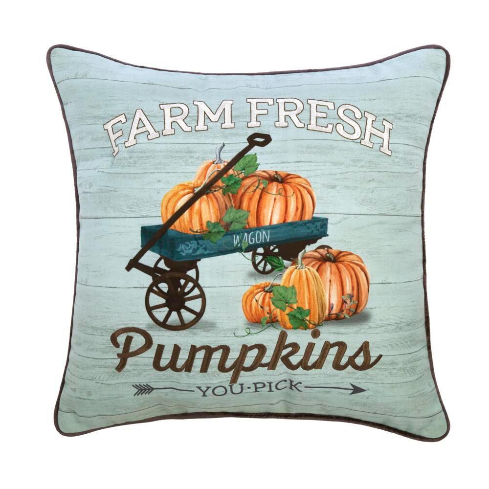 18 in. Farm Fresh Wagon Square Decorative Harvest Pillow