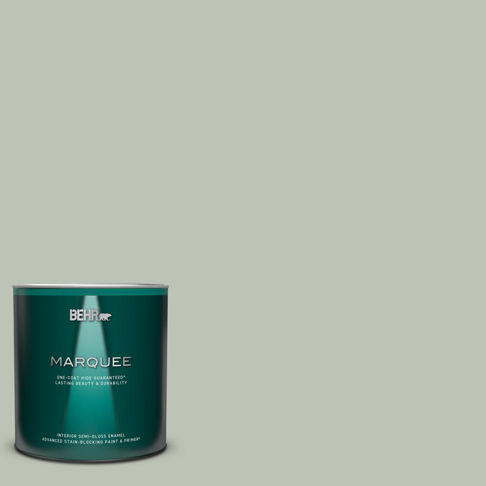 Behr Marquee 1 Qt Ppu11 11 Summer Green One Coat Hide Semi Gloss Enamel Interior Paint And Primer In One 345004 The Home Depot