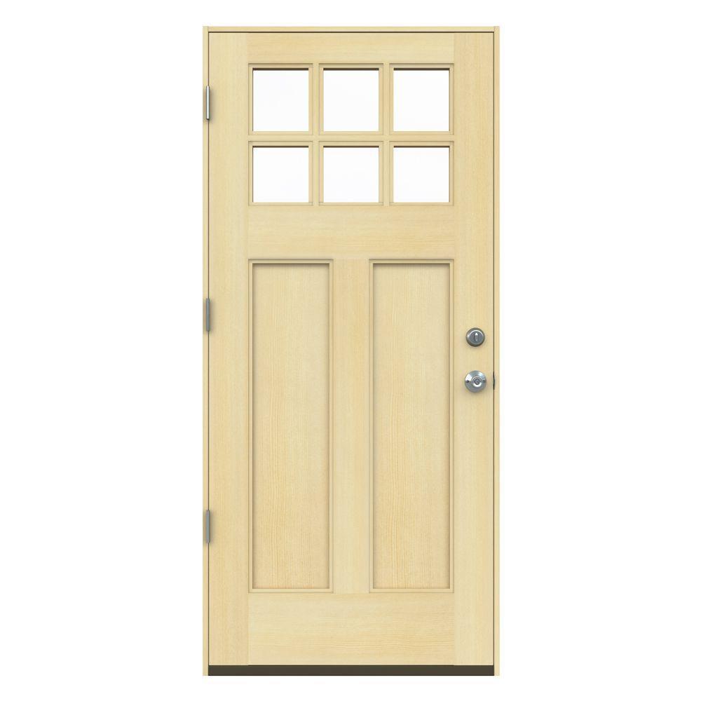 unfinished front doorJELDWEN 36 in x 80 in 6 Lite Craftsman Unfinished Wood Prehung