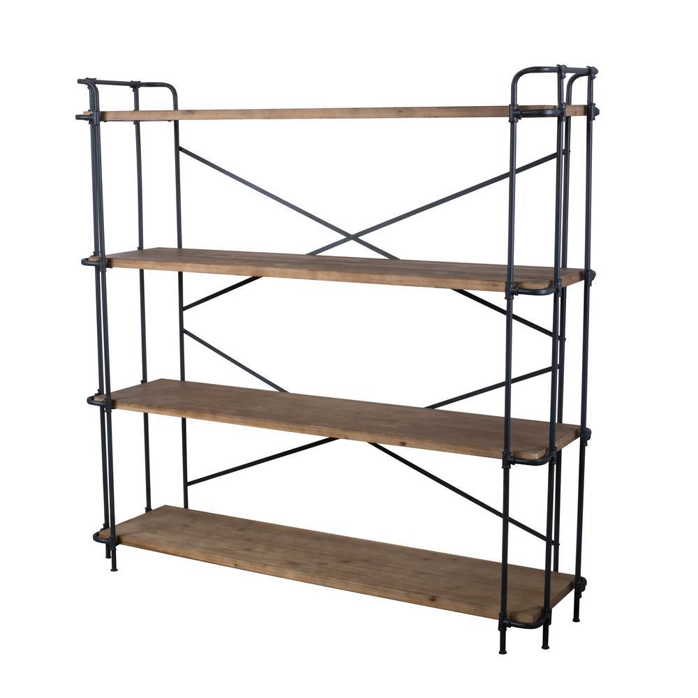 Yorktown 65.50 in. Antique Brown Wood 4-Shelf Etagere Bookcase