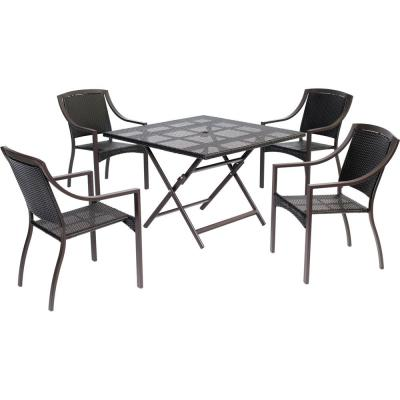 Belize 5-Piece Aluminum Outdoor Dining Set with 4-Chairs and a Collapsible Square Table