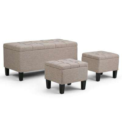 Dover 44 in. Contemporary Storage Ottoman in Natural Linen Look Fabric
