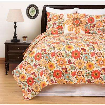 Riley Orange King Quilt Set