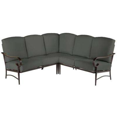 Oak Cliff Brown 3-Piece Steel Outdoor Patio Sectional Sofa with CushionGuard Graphite Dark Gray Cushions