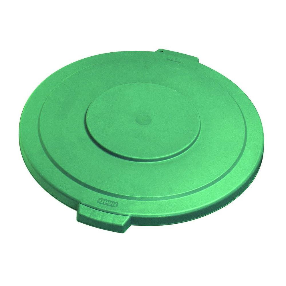 Carlisle Bronco 10 Gal. Green Round Trash Can Lid (6-Pack) by Carlisle