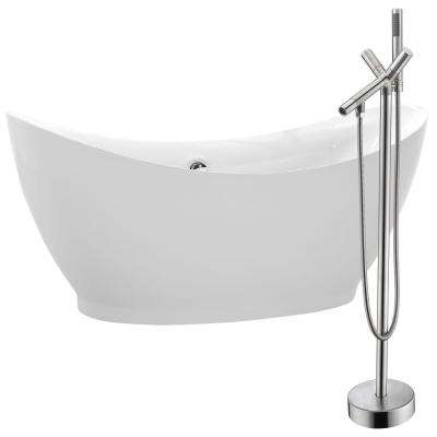 Reginald 68 in. Acrylic Flatbottom Non-Whirlpool Bathtub in White with Havasu Faucet in Brushed Nickel