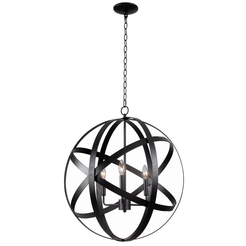 Kenroy Home Global 3 Light Black Pendant