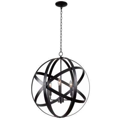 Global 3-Light Black Pendant