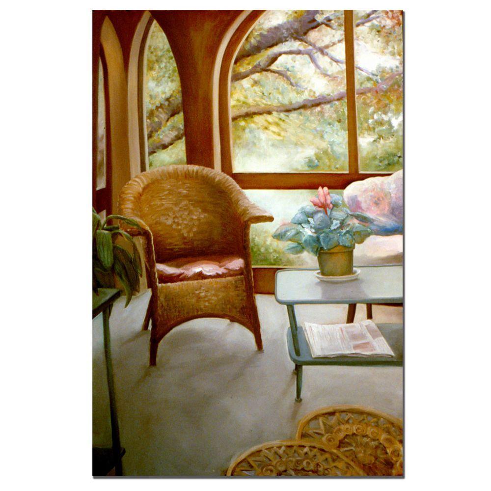 24 in. x 36 in. Wicker Chair and Cyclamen Canvas Art