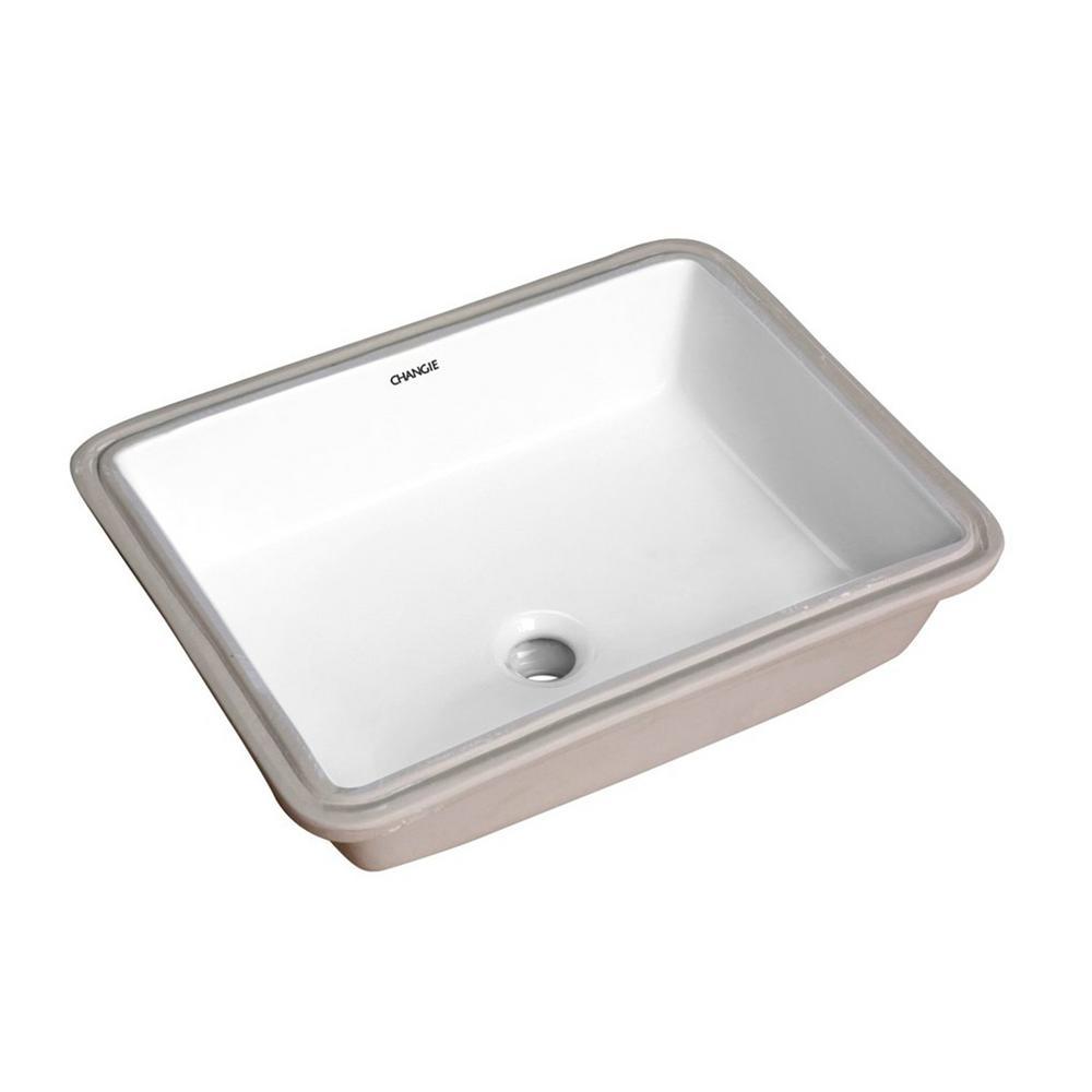 17 in. x 13 in. Ceramic Rectangular Lavatory Undercounter Bathroom Sink in White