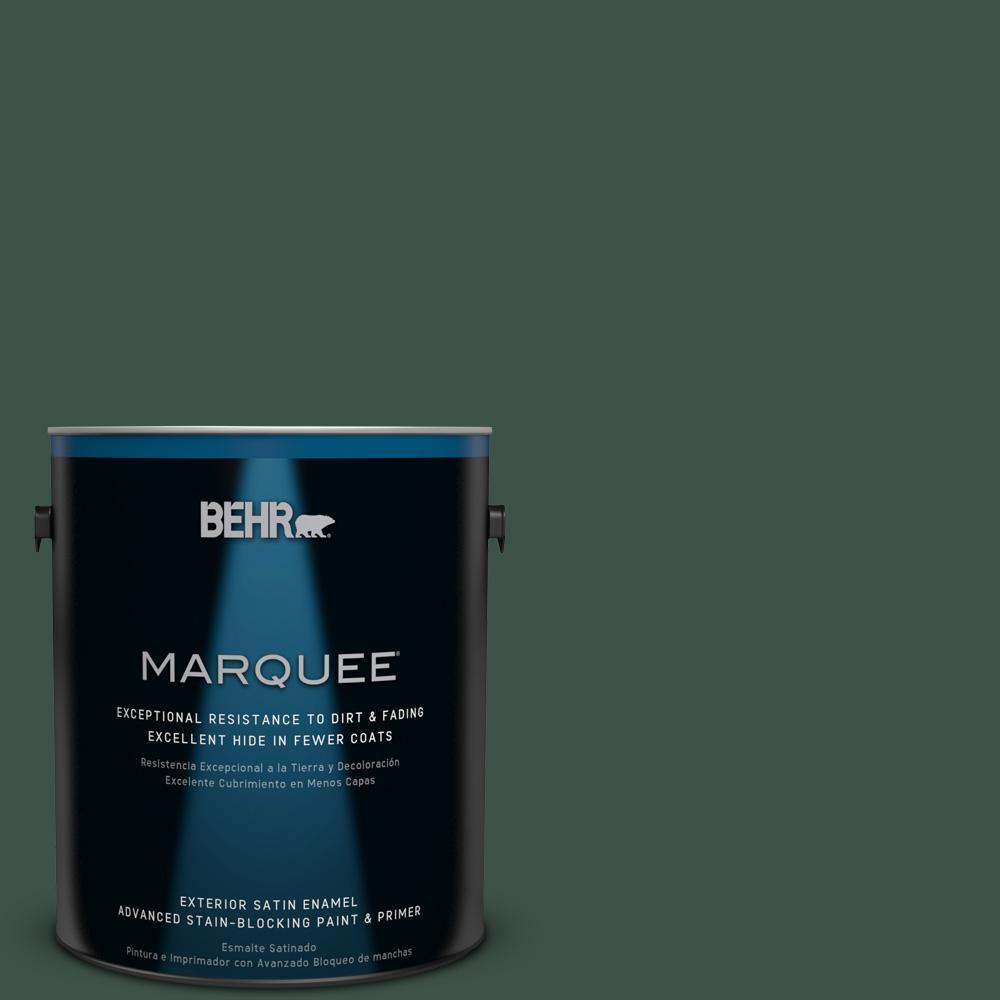 BEHR MARQUEE 1-gal. #470F-7 Deep Jungle Satin Enamel Exterior Paint