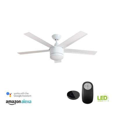 Merwry 52 in. Integrated LED Indoor White Ceiling Fan with Light Kit Works with Google Assistant and Alexa