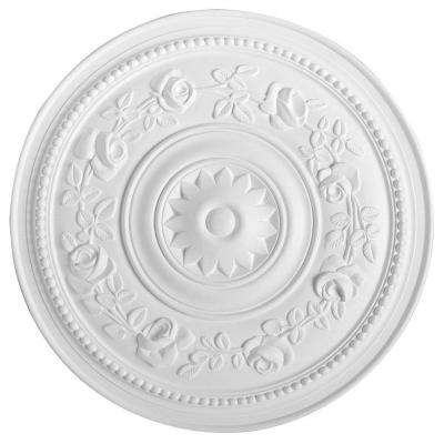 European Collection 15-3/4 in. x 1 in. Floral Roses and Rounded Beads Polyurethane Ceiling Medallion
