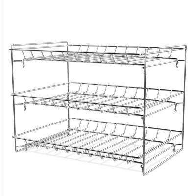 10.2 in. x 14.5 in. x 9.2 in. 3-Tier Stackable Can Organizer Rack