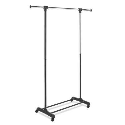 Extendable 66 in. H x 48 in. W x 18.3 in. D Garment Rack in Chrome and Ebony
