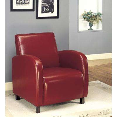Burgundy Leather-Look Accent Chair