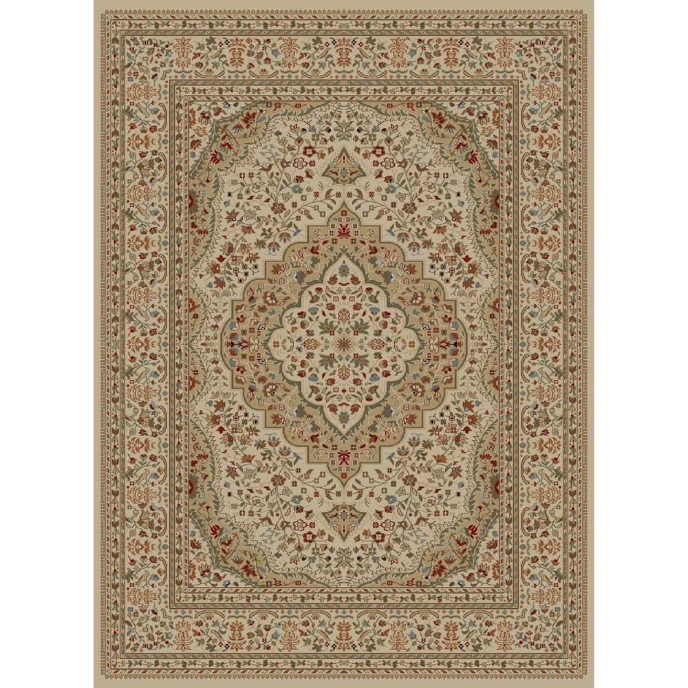 Concord Global Trading Ankara Kerman Ivory 6 ft. 7 in. x 9 ft. 6 in. Area Rug