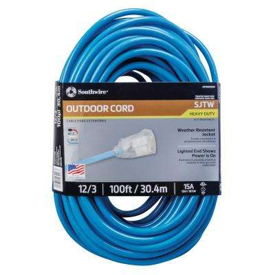 100 ft. 12-3 SJTW Neon Blue Extension Cord