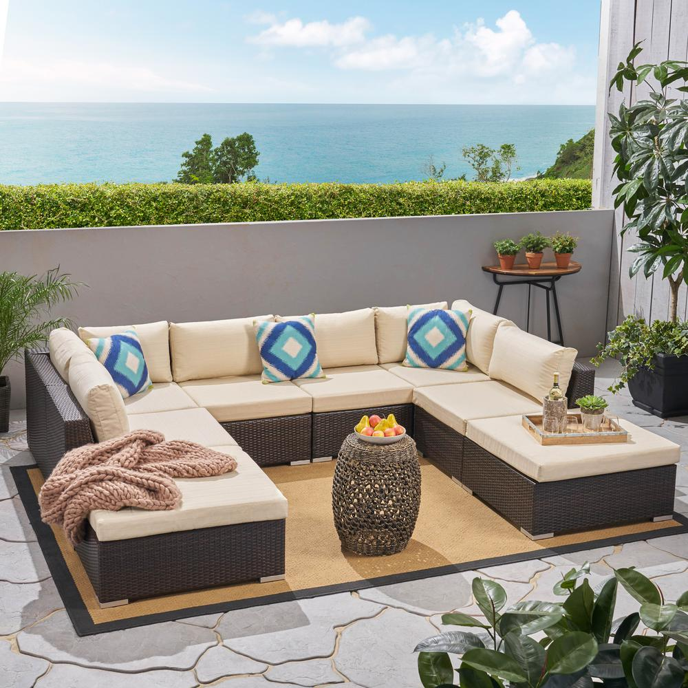 The Home Depot & Noble House Nolan Multi-brown 8-Piece Wicker Outdoor Sectional with Beige Cushions