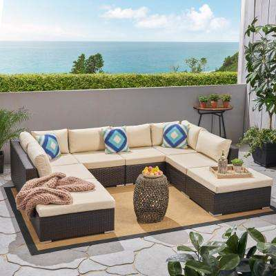 Nolan Multi-brown 8-Piece Wicker Outdoor Sectional with Beige Cushions