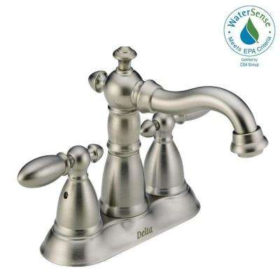 Victorian 4 in. Centerset 2-Handle Bathroom Faucet with Metal Drain Assembly in Stainless