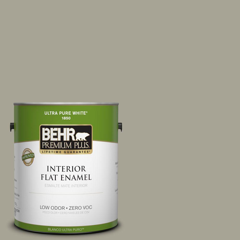 BEHR Premium Plus Home Decorators Collection 1-gal. #HDC-NT-01 Woodland Sage Zero VOC Flat Enamel Interior Paint-DISCONTINUED