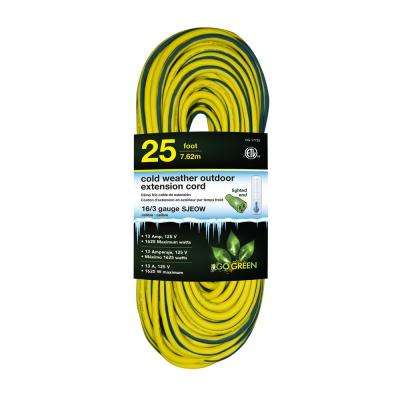 25 ft. 16/3 SJEOW Cold Weather Extension Cord with Lighted End