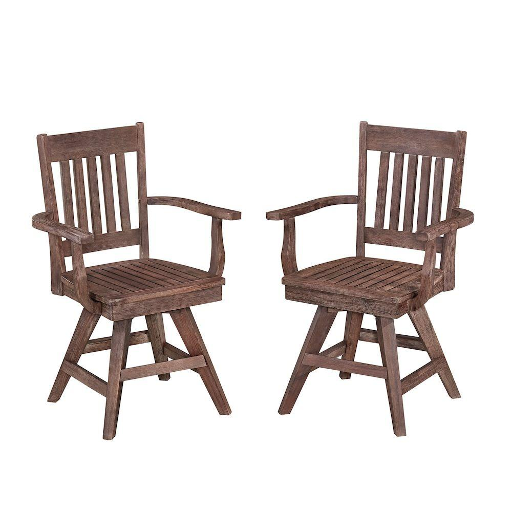 Home Styles Morocco Acacia Wood Swivel Patio Dining Chair (2 Pack)