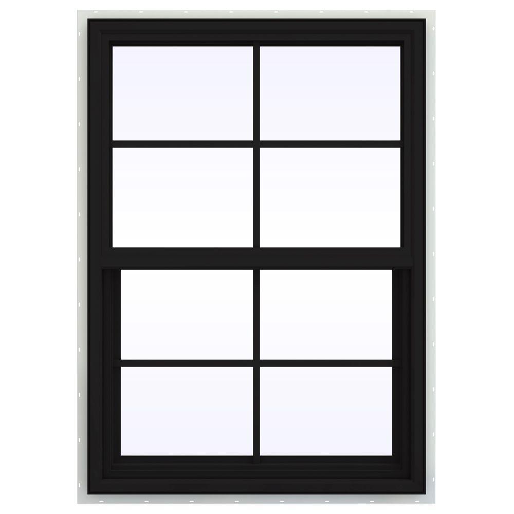 JELD-WEN 29.5 in. x 47.5 in. V-4500 Series Single Hung Vinyl Window with Grids - Black