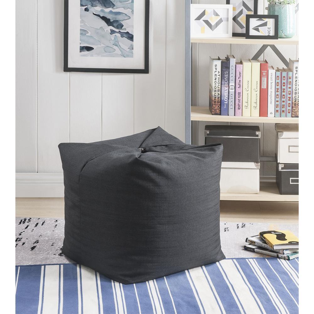 Magic Pouf Black Linen Bean Bag Chair Convertible Ottoman/Floor Pillow