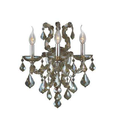 Lyre Collection 3-Light Chrome and Golden Teak Crystal Sconce