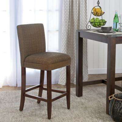 29 in. Contemporary Brown Upholstered Parsons Barstool