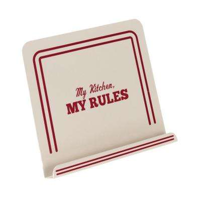 Countertop Accessories Metal Cookbook Stand with My Kitchen and My Rules Decal in Cream