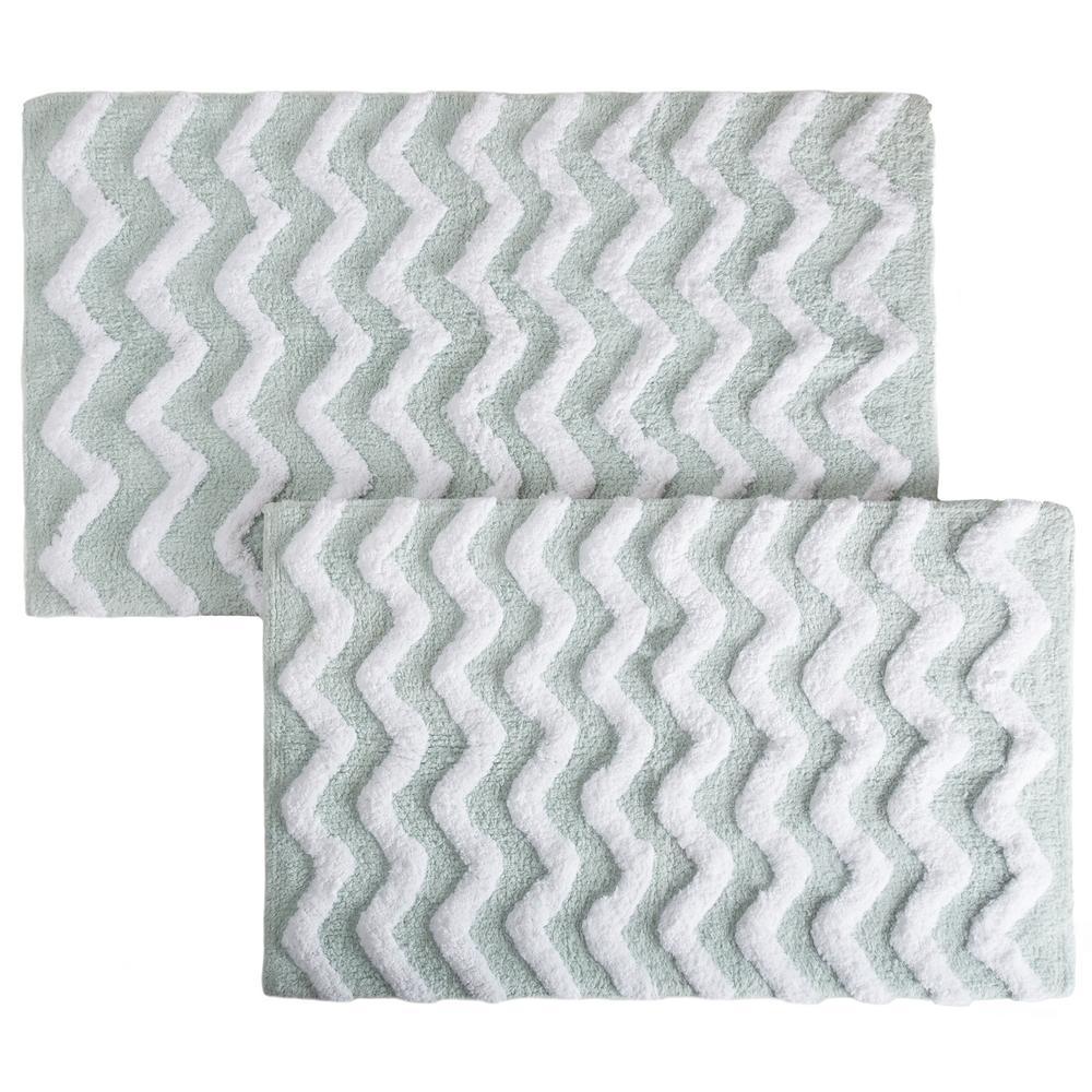 Lavish Home Chevron Seafoam 24.5 in. x 41 in. 2-Piece Bathroom Mat