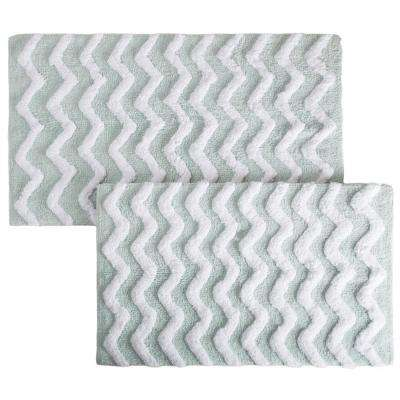 Chevron Seafoam 24.5 in. x 41 in. 2-Piece Bathroom Mat Set
