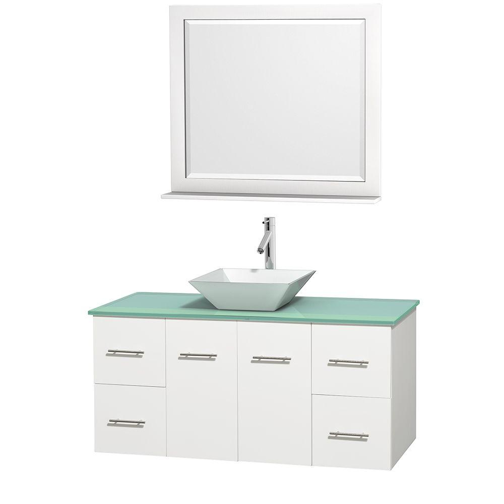 Wyndham Collection Centra 48 in. Vanity in White with Glass Vanity Top in Green, Porcelain Sink and 36 in. Mirror