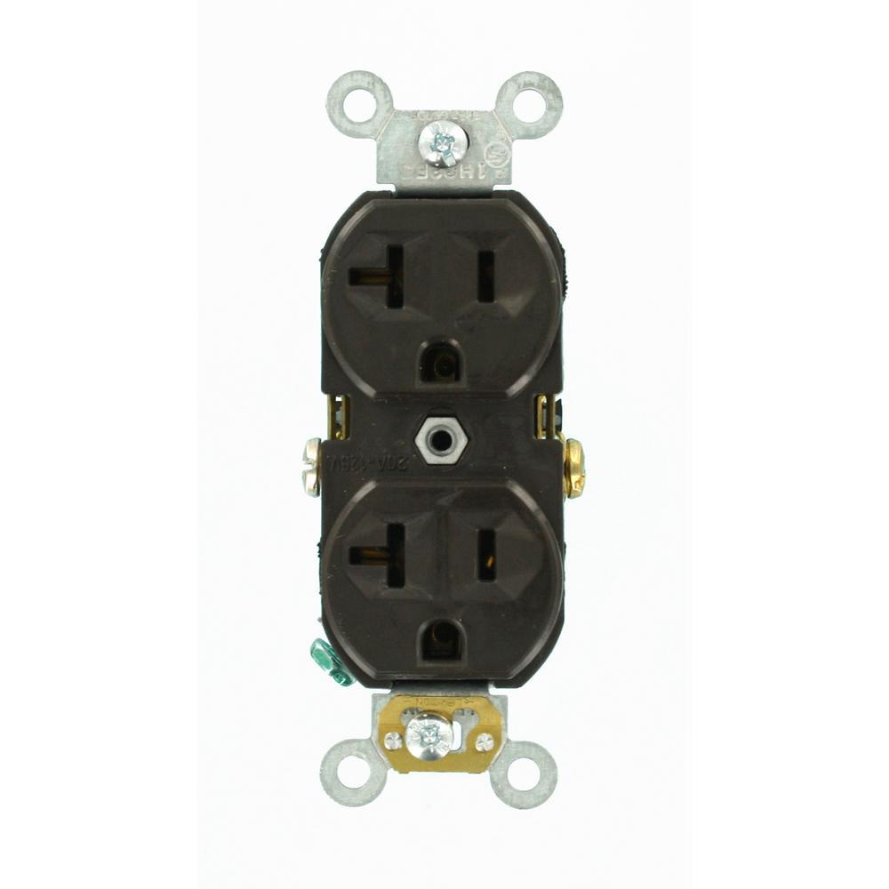 Leviton 20 Amp Commercial Grade Duplex Outlet, Brown-R50-CBR20-000 ...